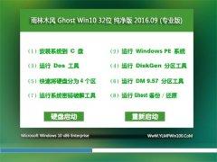 雨林木风 Ghost Win10 32位 纯净版 V2016.09(自动激活)